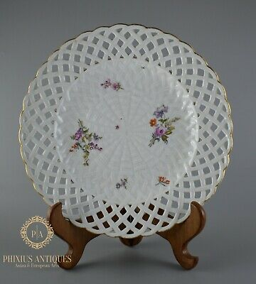 Antique Early 19th Century Meissen Porcelain Basket Weave Reticulated  Plate • 9.99£