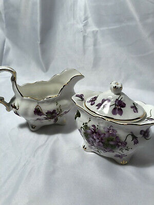 Hammersley England Victorian Violets Fine Bone China Cream & Sugar • 20.62£