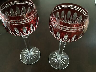 2 Beautiful Waterford Crystal Clarendon Red Hock Wine Glasses • 51£