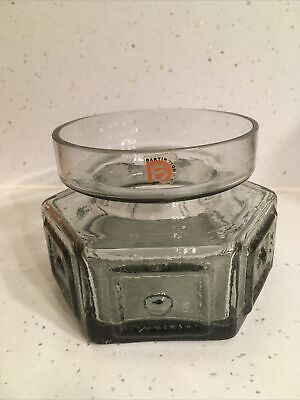 Vintage Darlington Frank Thrower Hexagonal Large Candle Holder In Midnight Glass • 20£