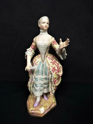 ANTIQUE MEISSEN PORCELAIN GERMANY RARE WOMAN WITH FAN FIG No: A 56 1850's • 120£