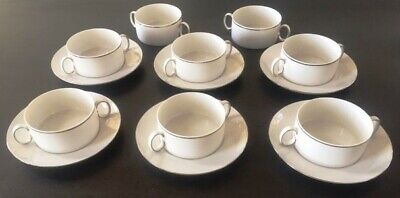 Thomas Silver Band Handled Soup Bowls & Saucers • 35£