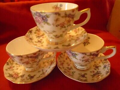 3 STUNNING Chintz Cups And Saucers  UNUSED  • 25.99£