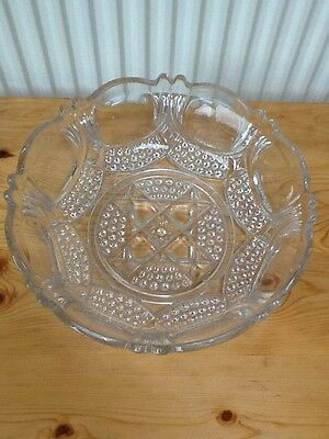 VINTAGE LARGE CLEAR GLASS FRUIT/TRIFLE BOWL Suit Christmas Occasions Rare • 6.99£