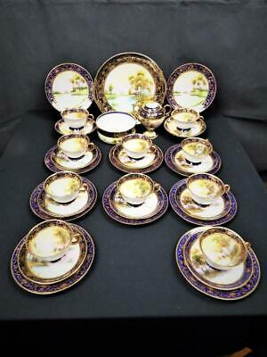 ANTIQUE NORITAKE PORCELAIN JAPAN SWAN LAKE SCENE 33 PIECE TEA SET 1920's • 132.95£