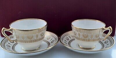 2 X TEA CUPS And SAUCERS CROWN STAFFORDSHIRE GOLD VICTORIA Made In ENGLAND  • 26£