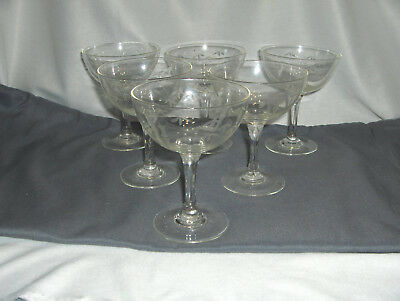 6 Vintage Noritake Crystal Tall Champagne Sherbet Goblets Etched Bamboo NICE • 47.54£