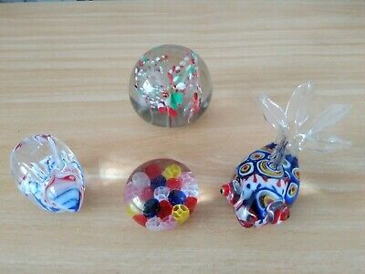 4 X GLASS PAPERWEIGHTS • 2.50£
