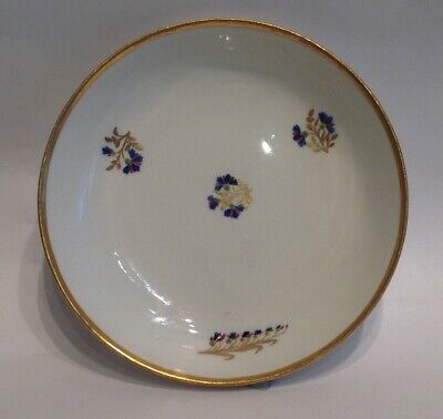 Antique Saucer  C.1790 Derby Pattern 129  Flowers, Blue And Gold On White. • 48£
