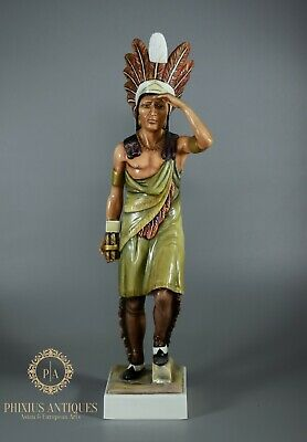 Rare Antique Porcelain Figure Of Cigar Store Native American Indian Figure • 20£