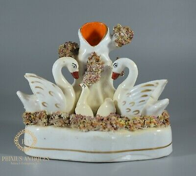 Antique Victorian Staffordshire Spill Vase  Of Swans & Cygnets • 9.99£