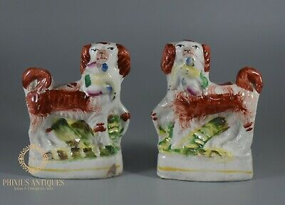 Pair Of Miniature Antique Victorian Staffordshire Flatback Figure Spaniel Dogs • 9.99£