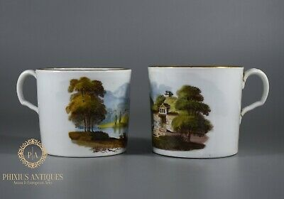 Antique Georgian Spode? Handpainted Porcelain  Cups Tamerton Mill & Brathay Hall • 9.99£