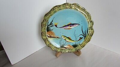 Vintage Hand Painted Fish Plate Marked Lival • 18£