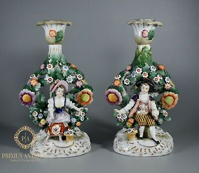 Stunning Pair Of 18th Century Hochst Porcelain Figural Candlesticks Rococo • 9.99£