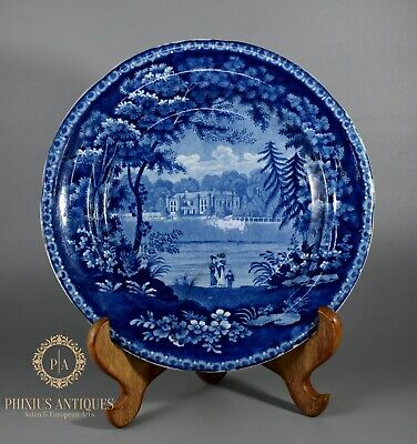 Antique Georgian Staffordshire Flow Blue Pearlware Plate Of Wistow Hall • 5.99£