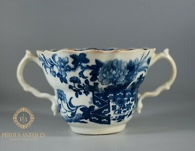 Antique 18th C First Period Worcester Fence Pattern Ogee Pattern Chocolate Cup • 9.99£