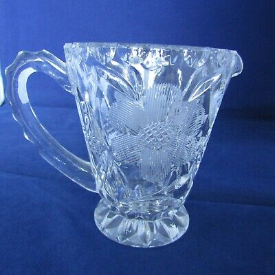 Clear Cut Glass Creamer Dish Made In The USA  3  Across 3 1/2  Tall  • 3.29£