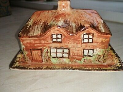 Vintage Butter / Cheese Dish Thatched Cottage Ware • 4.90£