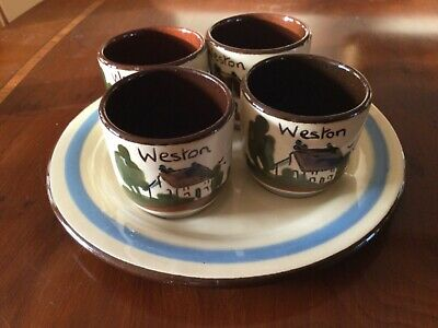 Babbacombe Pottery 4 Egg Cups With Tray.Made In Torquay • 35£