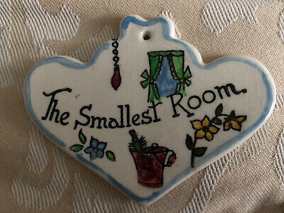 "1960-70s Pottery Plaque By Toni Raymond, ""The Smallest Room"" Perfect, Unusual • 10£"