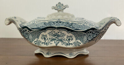 JHW & Sons Hanley Welbeck England Covered Vegetable Dish Tureen Blue White • 29.25£