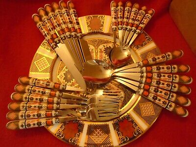 ATTRACTIVE 24 PCS CUTLERY SET IMARI DESIGN  UNBOXED Reduced To Clear • 27.99£