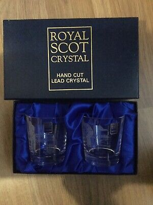 Lovely Royal Scot Boxed Lead Crystal Glasses X2 - Golfer Hand Cut Engraved *New • 18£