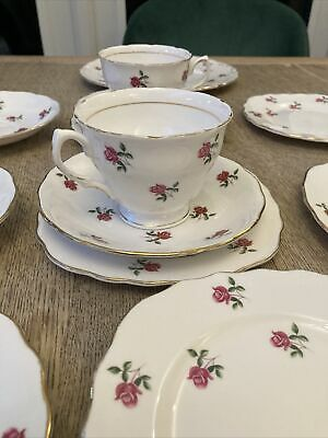Two Colclough Pink Roses 7433, Cup ,saucer & Plates , Good Used Condition • 12.99£