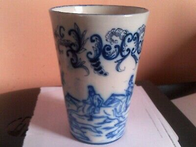 French Continental Faience Blue And White Beaker Hand Painted • 4.01£