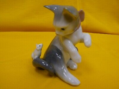 Vintage Lladro Cat And Mouse Figure  5236 Grey & White • 21£
