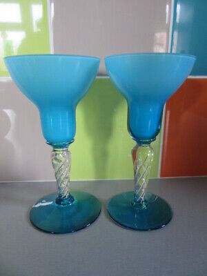 Pair Vintage Blue & White Cased Glass Candleholders ? Holmegaarde - Gorgeous • 14.99£