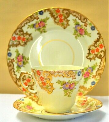 Sutherland China England Gilt Floral Hand Painted Trio Tea Cup Saucer Plate 2420 • 19.99£