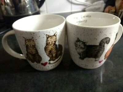 Two Queens By Churchill Charismatic Cat Mugs Tabbies And Long Hairs • 14.99£