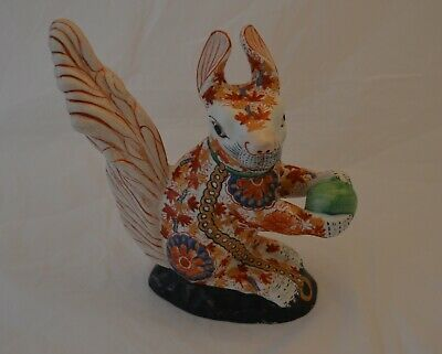 Large Chinese Imari Pottery Figure Of A Squirrel - Signed Underneath • 25£