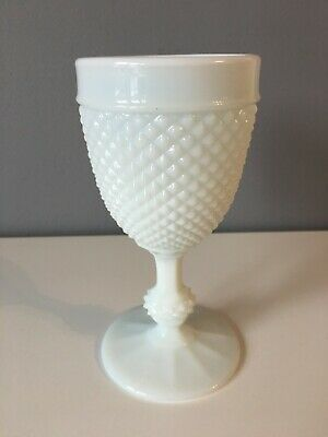 Vintage Fenton Style Hobnail Milk Glass Goblet - 16cm Tall - Unmarked • 8.50£