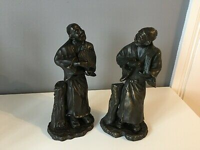 2 X Oriental Pottery Bronze Effect Figures Of Men With Fans - Good Condition • 35£