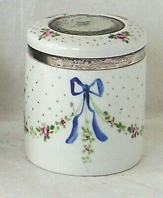Mirrored Silver Edged Lid 1907 Antique Porcelain Jar  • 28£