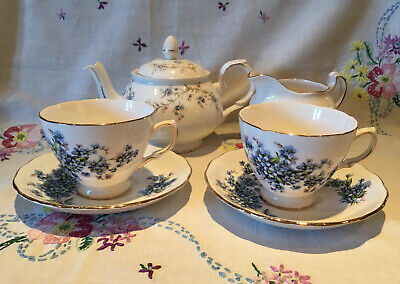 *2 Pretty Vintage Forget Me Nots Tea Set Cups + Saucers With Tranquility Teapot* • 14.50£