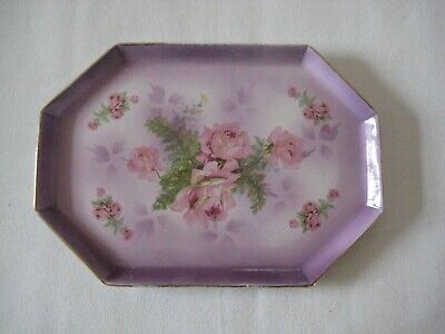 Vintage English Pink/purple Porcelain Tray With Rose Design • 10£