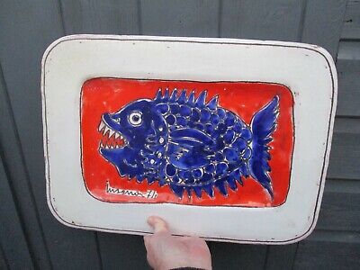 A Large Vintage/Retro Tin Glazed Fish Design Wall Plaque Dated 1971 • 55£