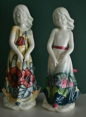 PAIR Of OLD TUPTON WARE Girl Figures YELLOW POPPY + LILY OF THE VALLEY  21cm • 22.99£