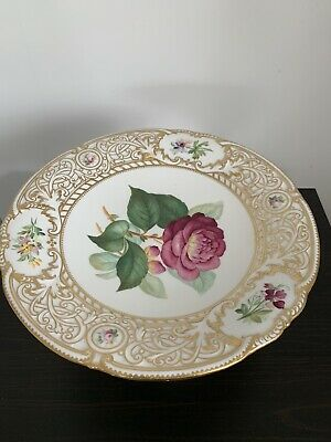 Antique English Porcelain With Floral Designs Cake Stand 19th Century • 14.99£