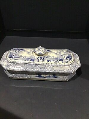Rare Victorian Ceramic Blue And White Transfer Ware Toothbrush Holder   • 20£
