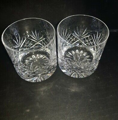 2 Heavy Vintage Crystal Whisky Glass Tumblers Superb Quality   • 12£