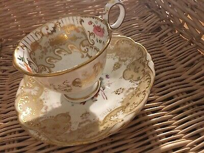 Beautiful Antique Davenport Longport China Cup & Saucer Gold And Hand Painted (2 • 75£