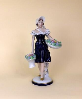 A Exquisite Art Deco Porcelain Royal Dux Large Figurine Of Girl With Flowers. • 55£