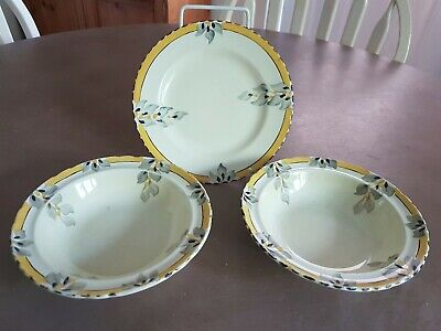 Burleigh Art Deco Plate And Bowls Hand Painted Bouquet Pattern • 12£