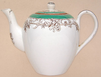 Copeland: Small (Childs?) Green & Foral (D.1971) Teapot. 5½  Long • 14.99£