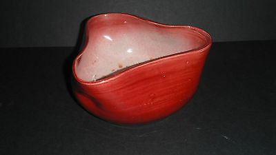 Bretby Art Pottery Red Tricorn Dimpled Pinched Bowl 1950d Tooth / Ault • 16.99£